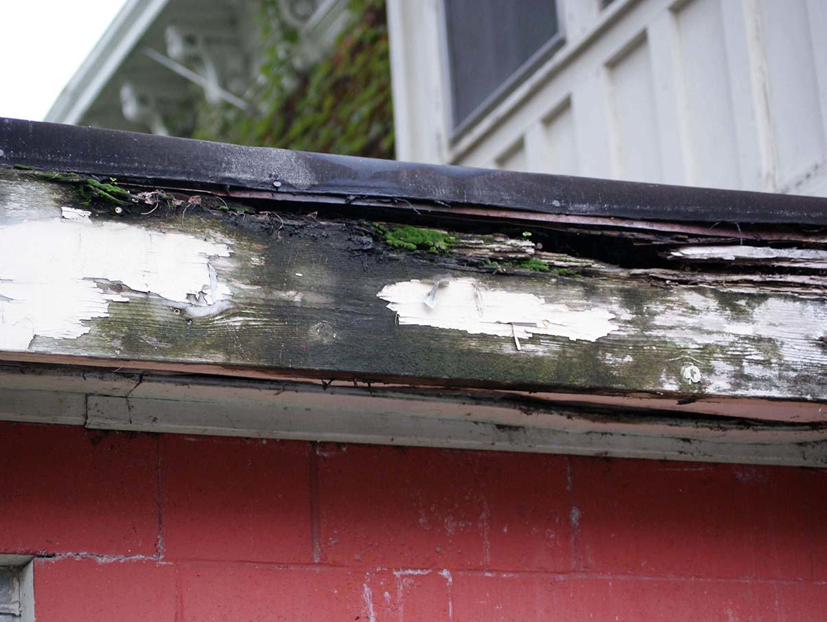 Fascia And Soffit Repair Wood Rot Caused By Gutter Leak
