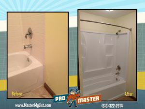 Bathtub remodel wood rot damage bathroom ProMaster Handyman Home Repair Cincinnati